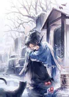 Аниме картинка 572x800 с  touken ranbu nitroplus yamato no kami yasusada instockee один (одна) высокое изображение чёрные волосы чёлка сидит закрытые глаза держать снег зима грусть голое дерево outside мужчина цветок (цветы) оружие растение (растения)
