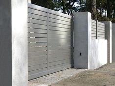 The Sonning Driveway Gate Named After Sonning A Contemporary Half Panel Design Modern Gates And Fences San Diego Modern Wrought Iron Gates And Fences Modern Gates And Fences