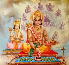 Shri Rama with Laxman Navagraha Puja India Vintage Calendar Print  (via ebay:  ganga_jal)