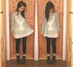 Wildfox Couture Mint Green Jumper, White Shirt, Pimkie Skirt, Dr. Martens Shoes