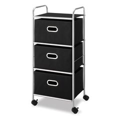 The Whitmor three-drawer chest is easy to assemble and is made of a metal frame with durable polyester fabric drawers. With casters for easy mobility, this moving cart is perfect for a versatile storing solution.
