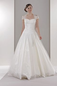Sassi Holford 'Kelly' lace wedding dress with sleeves. Can do this lace sleeve and cover back on any strapless dress