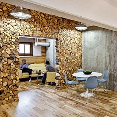 Love this wood wall. Parliamentdesign headquarter interior, Portland, OR - http://parliamentdesign.com