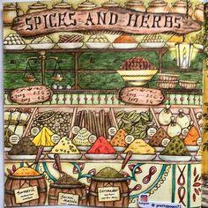 Spice Market from Romantic Country the Third Tale by @eriy06 . #romanticcountry #artecomoterapia #colouredpencils #coloringmasterpiece #romanticcountry3 #bayan_boyan #prismacolorpencil #wonderfulcoloring #eriy06 #Eriy #spices #spiceshop #colouredbyme #coloringmasterpiece #boracolorirtop #romanticcountrycoloringbook #divasdasartes #topcoloridos #romanticcountrycoloringbook #thethirdtale #herbs #majesticcoloring