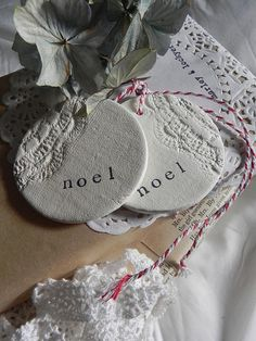 Vintage Doily Noel Clay Tags set of two by marleyandlockyer $