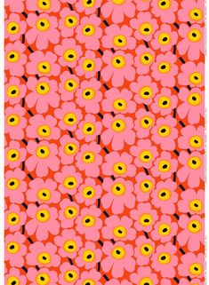 This cotton fabric features the orange, pink and yellow Pieni Unikko pattern. Cut fabric cannot be returned.
