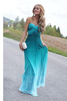 Real Beauty Peacock Green Gradient Chiffon Prom Dresses ,A-line Evening Dress,Floor Length Dress
