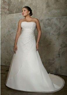 Verkaufen Günstige A-Linie Trägerloser Ausschnitt Chiffon With Perlen Übergröße Kapelle-Schleppe Hochzeitskleider (M100280) - Diydress.de