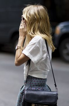 white tee + printed skirt