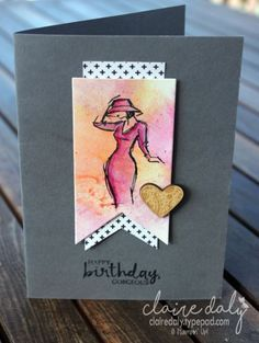 Stampin Up Beautiful You stamp set and watercolour pencils. Card by Claire Daly, Stampin Up Demonstrator Melbourne Australia Birthday Cards For Women, Handmade Birthday Cards, Cute Cards, Diy Cards, Stamping Up Cards, Watercolor Cards, Creative Cards, Homemade Cards, Cardmaking