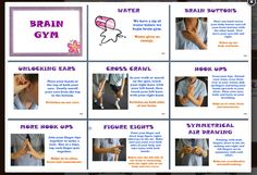 brain gym with pics download...link from http://margdteachingposters.weebly.com/thinking-processes.html