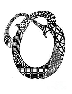 Zentangle Letter O Monogram In Black And White by Nan Wright