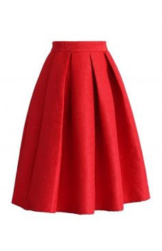 Jacquard Rose Pleated Midi Skirt in Red - Retro, Indie and Unique Fashion