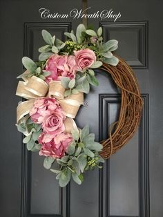 Summer Wreath for Front Door, Peony Wreath, Lamb's Ear Wreath, Farmhouse Wreath, Housewarming - Holiday Summer Door Wreaths, Easter Wreaths, Wreaths For Front Door, Holiday Wreaths, Christmas Decorations, Spring Wreaths, Tree Decorations, Christmas Crafts, Front Doors
