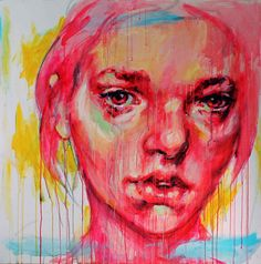 "Saatchi Online Artist: Elly Smallwood; Acrylic 2012 Painting ""Portrait in Pink"""