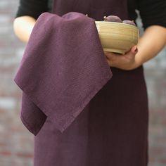 Set of 2 Aubergine Linen Tea Towels Lara. £14.99