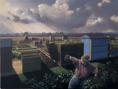 """""""Allotments Wessunfield"""" by James Lynch (Egg tempera on gesso coated wood panel)"""