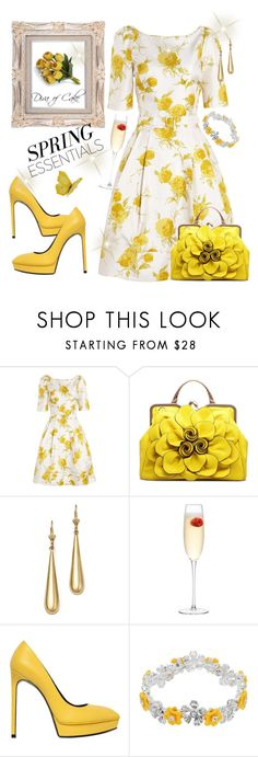 """Yellow and white outfit"" by kercey ❤ liked on Polyvore featuring Suzannah, Bloomingdale's, LSA International, Yves Saint Laurent, Napier and Crate and Barrel"