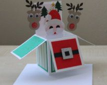 Handmade santa claus card in a box for christmas,3D christmas card, pop up card.