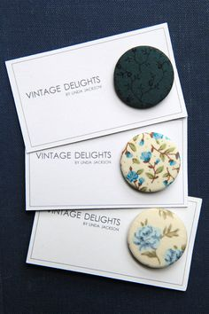 Blue Floral Fabric Badges by VintageDelightsShop on Etsy Floral Fabric, Badges, Create, Blue, Etsy, Vintage, Accessories, Flower Fabric, Badge