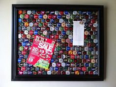 Framed Upcycled Bottle Cap Magnet Board by GreenHartInc on Etsy