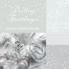 Zakelijke kerstkaart in een zilveren sfeer. Mooie illustratie met kerstballen. Schut elkaar de hand voor 2017.