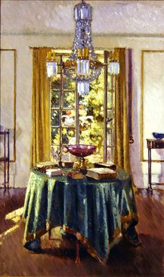 ◇ Artful Interiors ◇ paintings of beautiful rooms - Patrick William Adam - The Green Table Cloth, 1926