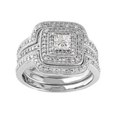Sterling+Silver+1/3+Carat+T.W.+Diamond+Square+Halo+Engagement+Ring+Set