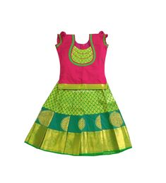 Handmade Lehenga Choli Kids Parrot Green and Pink Pure Silk Pavadai for Indian Baby Girls/Kids Ethnic Wear Traditional Dress - 2 Months Baby Girl Frocks, Frocks For Girls, Dresses Kids Girl, Kids Outfits, Baby Outfits, Kids Dress Wear, Kids Gown, Kids Wear, Baby Frocks Designs