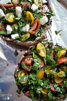 Hongos portobellos rellenos de tomate y espinaca www.pizcadesabor.com