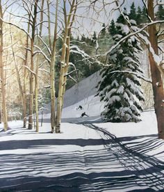 Image of Campground Challenge by Linda Roberts, skiers with special needs, snow, ski, Colorado, Snowmass Village, watercolor art