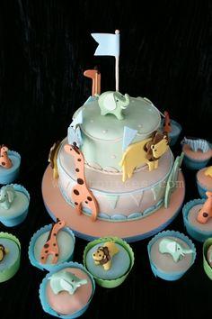 animals on parade cake