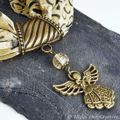 Bronze Tone Scarf Ring Angel Scarf Jewellery by NightOwlCreative