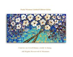 Tree in Blue limited edition Art on canvas Home by Artcoast