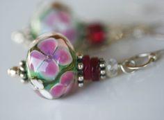Pink Florals artisan lampwork and sterling by LibertyOriginals