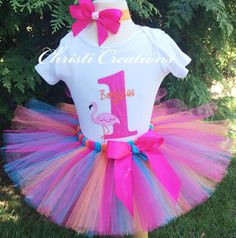 Baby Girl 1st Birthday Tutu Outfit - Flamingo Party - Orange and Pink - Party Dress - Cake Smash