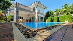 Fabulous 2 Story Property For Sale Pranburi Hua Hin  Property ID: PRHH9272 Bedrooms: 3 Bathrooms: 2.5 Living Area: 300 m² Land Area: 760 m²  Pool Villa For Sale Pranburi Near Hua Hin Country Views This Super Hot Deal comes with has 3 bedrooms, 2 bathrooms and 1 guest toilet. Build on 760 m² of land with Super Hot Real Estate Deal. Beautiful fully furnished and equipped with Designer KVIK worth 1,2 million baht kitchen with 6 meter white washed oak island. Property Real Estate, Property For Sale, White Washed Oak, Guest Toilet, Oak Island, Profile View, Condos For Sale, Living Area, Villa