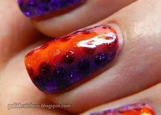 Halloween nail art challenge. Halloween gradient with dots.