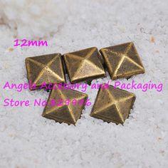 Free Shipping 1000pcs/lot 12mm Antique Brass Pyramid Studs Rivets Spots Punk Rock Spike DIY Accessory