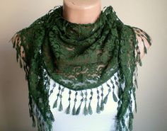 Lace Scarf  in Forest Green Cowl with Tassel by fizzaccessory, $15.00