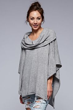 Love Stitch Draped Neckline Knit Poncho IMP5385 Eva
