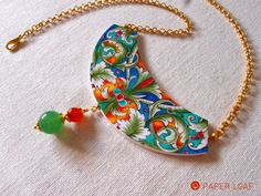 Deruta | handpainted paper necklace with agate ad avventurine beads | Paper Leaf  #PorcelainCollection #FauxBrokenChina