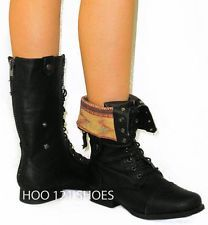 pictures of fold over boots flat | ... Military Fold Over*Flat Mid Calf High Riding Cuff Boots BLACK 5.5