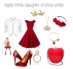 Apple white outfit by fashionfabulous4eva on Polyvore featuring polyvore, fashion, style, WearAll, Badgley Mischka, Effy Jewelry, Kate Spade, RED Valentino and clothing