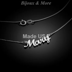 Sterling Silver Customized Personalized Name Necklace w up to 10 Letters in SS #BijouxMore #Name