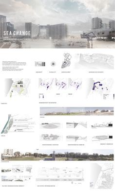 architecture presentation layout _ Sea Change - Edge of the sea by Dalia Munenzon - Sea Change A As Architecture, Architecture Graphics, Architecture Drawings, Project Presentation, Presentation Layout, Presentation Boards, Photoshop, Architecture Presentation Board, Architectural Presentation
