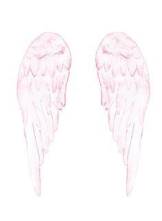 Angel wings print. Pink wings. Blush print. Watercolour