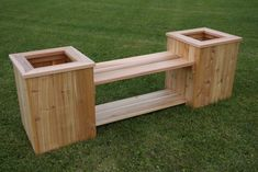 Wooden bench & planter combo cedar planters w/ bench wooden bench & Planter Bench, Planter Boxes, Planter Garden, Planter Ideas, Garden Bed, Cedar Planters, Wooden Planters, Outdoor Garden Bench, Outdoor Decor