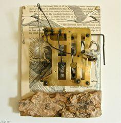 Assemblage - Found Object Art, Clockwork, Birds. $120.00, via Etsy.