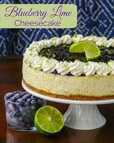 Blueberry Lime Cheesecake. A delicious flavour combination in a creamy, indulgent cheesecake with a little something deliciously different about the crust.